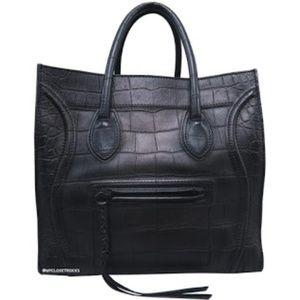 Celine Black Croc Medium Phantom Luggage